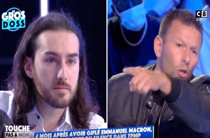 """TPMP : Damien Tarel, l'homme qui a giflé Emmanuel Macron, vivement critiqué : """"Tu es un bouffon de cour d'école"""" (VIDEO)"""
