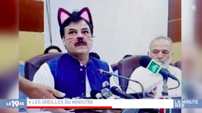 Bande-annonce > Zapping du 18/06 : Des ministres pakistanais...avec un filtre oreilles de chat ! - Télé 7 Jours
